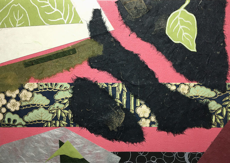 torn paper collage in blacks, pinks, nature